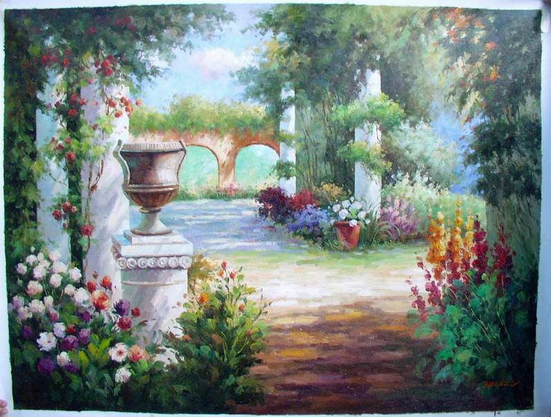 Oil Paintings Of Flower Gardens