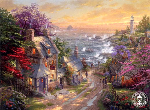 Beautiful seaside landscape oil painting
