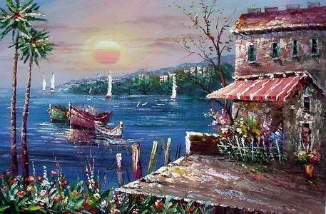 Mezzanine Oil Painting Art ,a miniature Mediterranean Sea oil painting