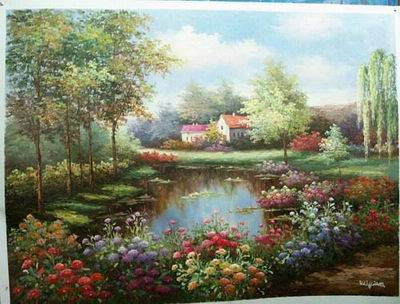 flowers oil painting Summer Garden oil painting in a Garden Garden oil painting