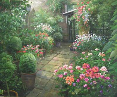 oil painting reproduction Rose Garden Oil Painting Garden oil painting