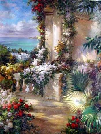 Oil Paintings Of Flower Gardens Oil Paintings Painting