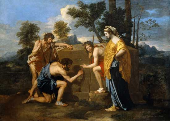 Arcadian Shepherds, 1637 (Et in Arcadia Ego, Chatsworth), Nicolas Poussin