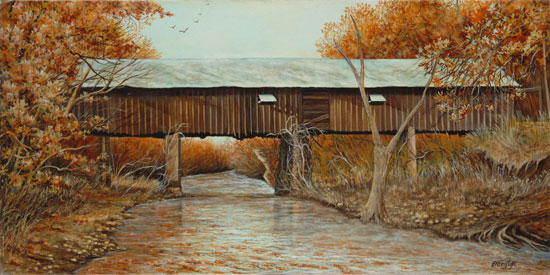 Concord Bridge in Fall, Linda Evanglyn Wallace