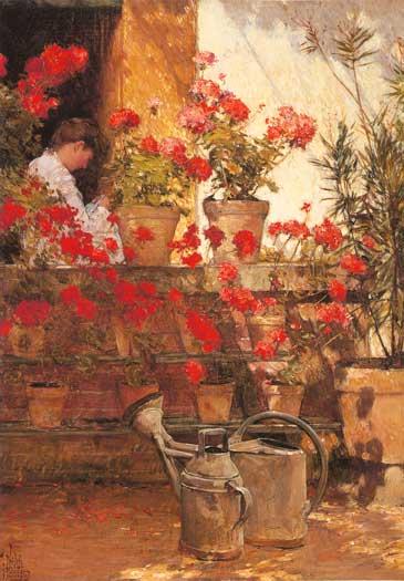 Geraniums, Childe Hassam