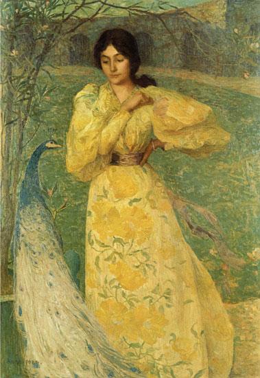 Girl with a Peacock, Edmond Aman-Jean