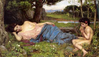 Listening to My Sweet Pipings, John William Waterhouse