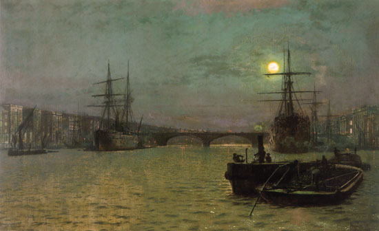 London Bridge at Half Tide, Grimshaw
