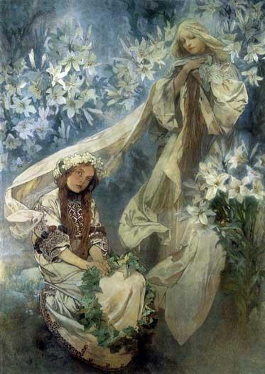 Madonna of the Lilys, Alphonse Mucha