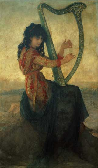 Muse Playing the Harp, Antoine Auguste Ernest Hebert