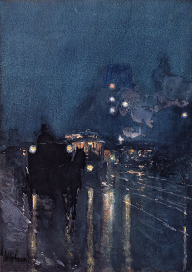 Nocturn, Railway Crossing, Childe Hassam