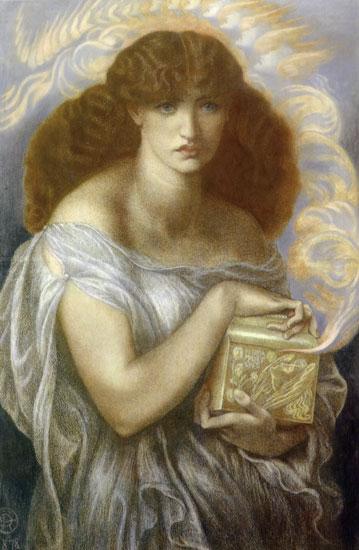 Pandora, Dante Gabriel Rossetti, canvas