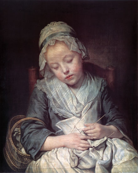 The Young Knitter, Jean-Baptiste Greuze
