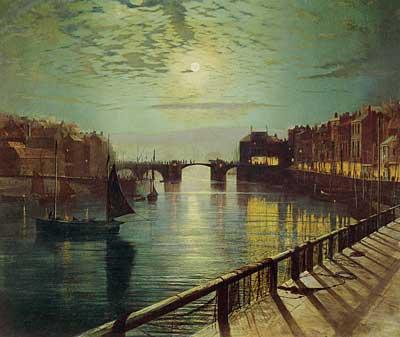 Whitby Harbor by Moonlight, John Atkinson Grimshaw