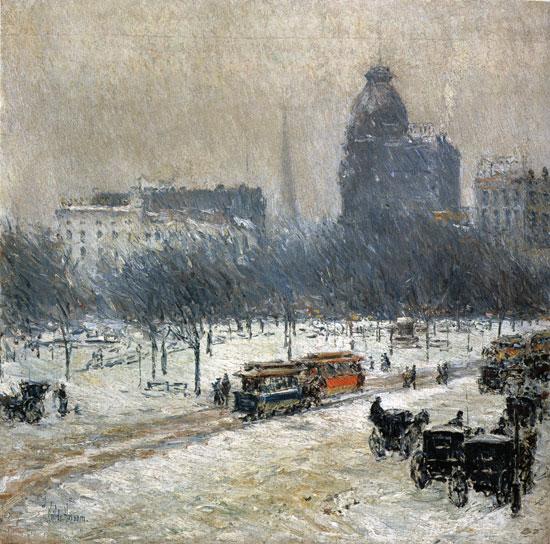 Winter in Union Square, Childe Hassam