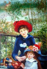Two Sisters (on the Terrace) Oil Painting Reproduction renoir paintings - renoir art