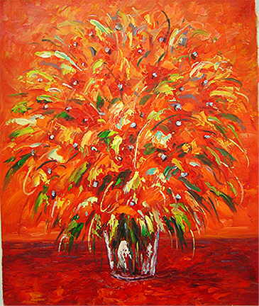 Warm red hearted flower oil painting