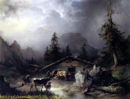 Cottage of Alps in Rain