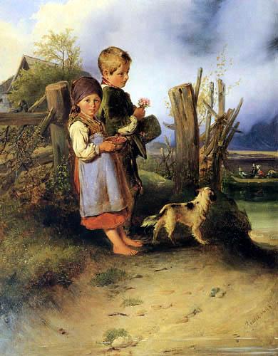 Farmer children at the lakeshore