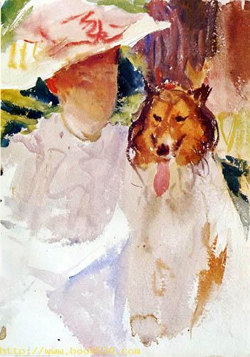 Lady with a Collie
