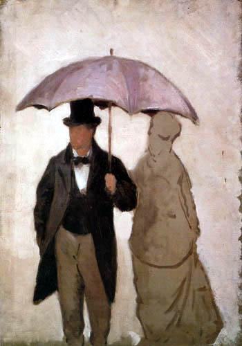 Man and woman under an umbrella, study