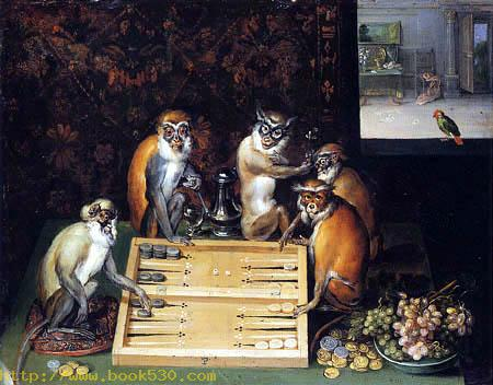 Monkeys playing a board game