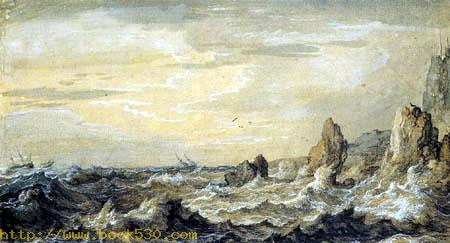 Rocky coast in the storm