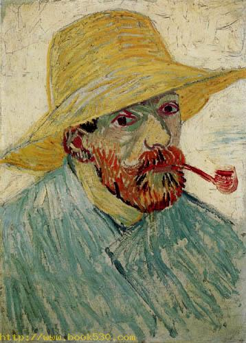 Selfportrait with straw hat and pipe