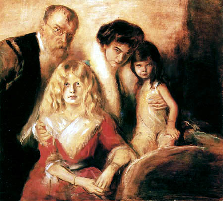 Selfportrait with wife and daughters