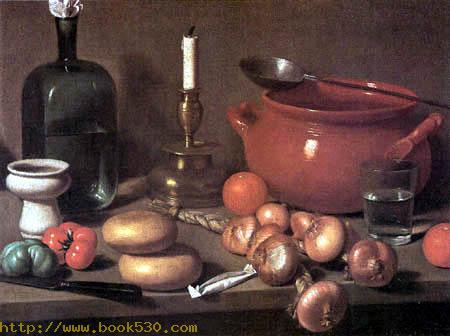Still life with a candlestick and onions