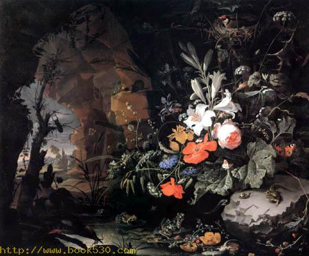 Still life with Flowers and saurians