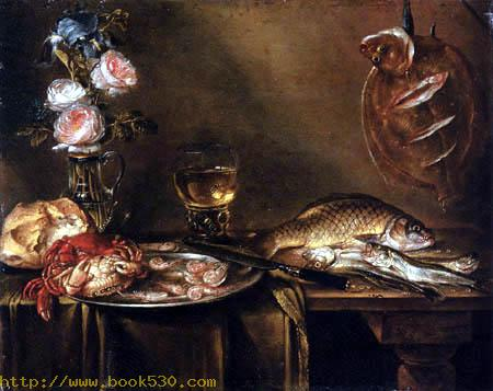 Still Life with Roses, Crabs and Fish