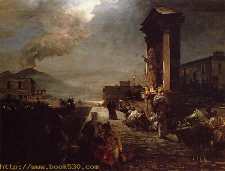 Strasse in Neapel mit Blick auf den Vesuv