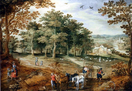 A wooded landscape with travellers and a cart