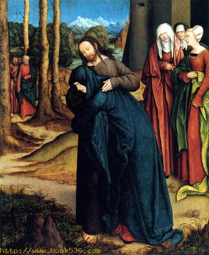 Christ takes leave from his mother