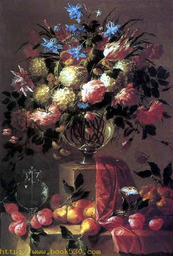 Flower still life with fruits