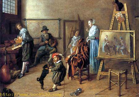 The artist in its studio