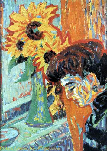 Woman and sunflowers