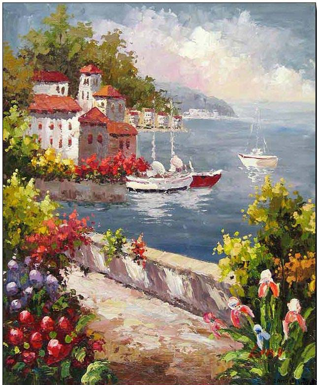 Mediterranean oil painting mediterranean view to the bay for How to start painting on canvas