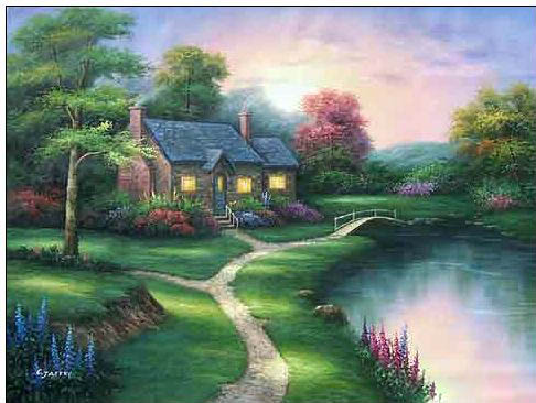 Cottages oil painting