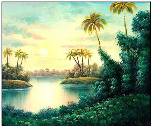 Palm oil painting