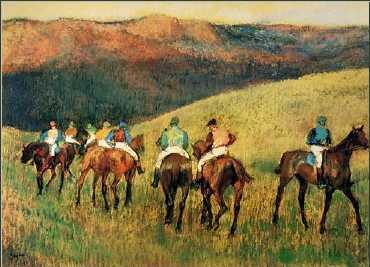 Racehorses in Landscape Oil Painting