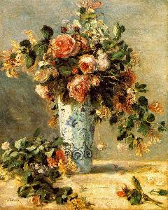 Roses And Jasmine In A Delft Vase Pierre Auguste Renoir Oil Painting