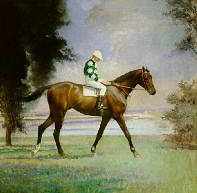 Thoroughbred and Jockey Oil Painting