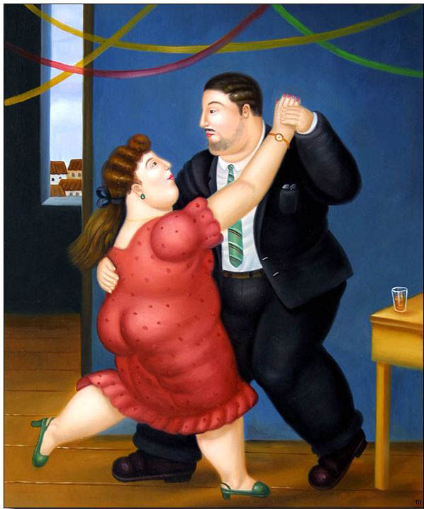 Fat person oil painting