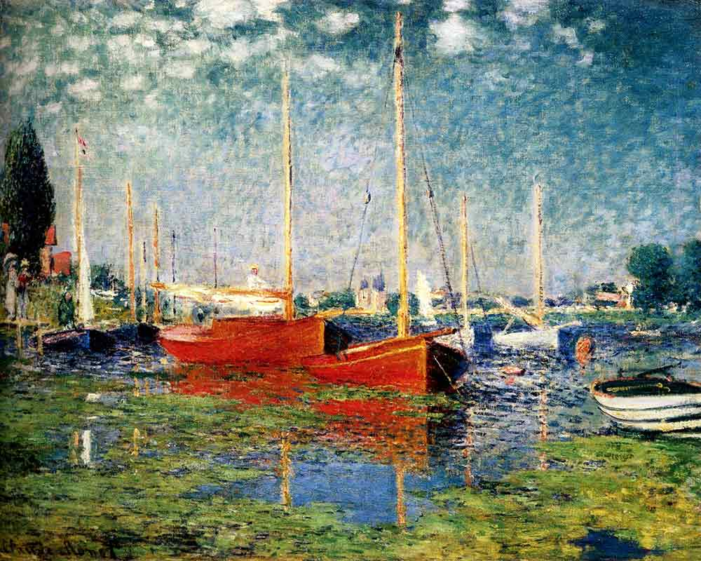 Impressionism oil painting the red boats argenteuil by for Claude monet impressionist paintings