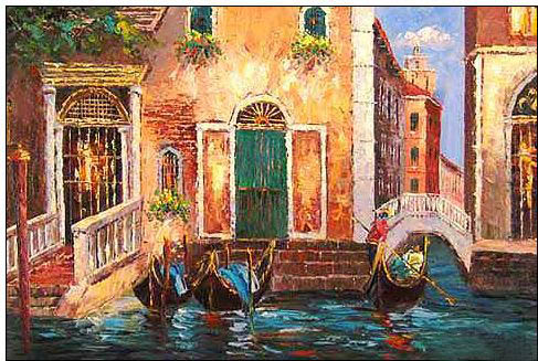 Cities oil painting