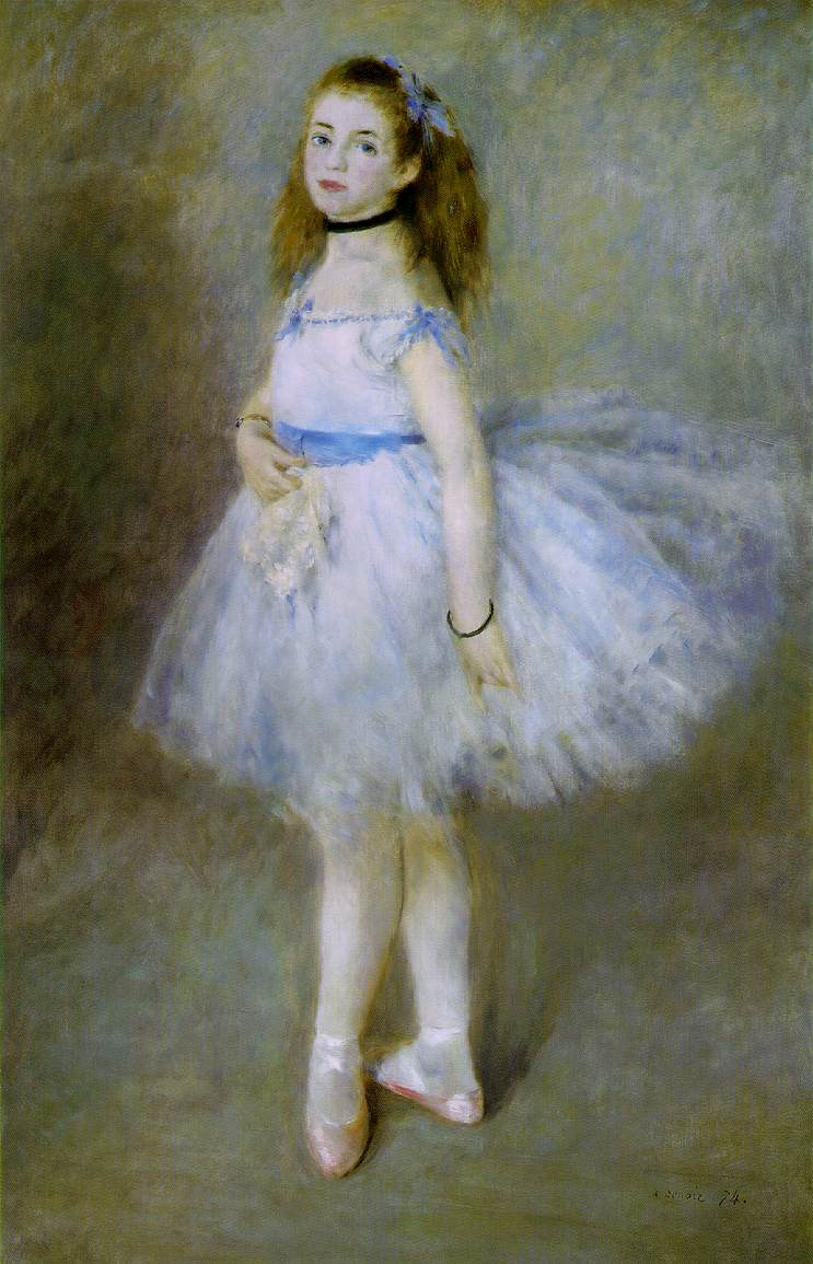 oil painting of a little ballet girl