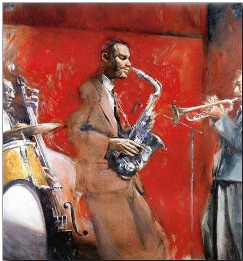 Jazz oil painting