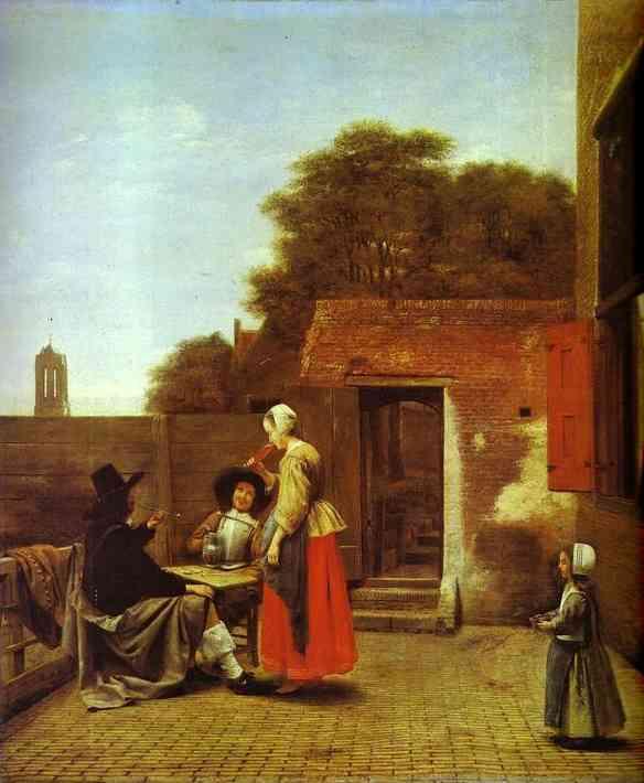 Oil painting:A Dutch Courtyard. c. 1660